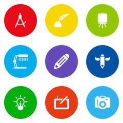 Set Of 9 Constructive Icons Set.Collection Of Stand , Photo, Compass Elements.