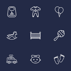 Set Of 9 Kid Outline Icons Set.Collection Of Balloon, Baby, Clockwork Car And Other Elements.