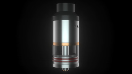 Rebuildable dripping atomizer for vape clouds. 3d render