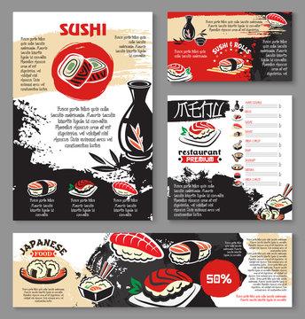 Japanese seafood restaurant sushi menu template