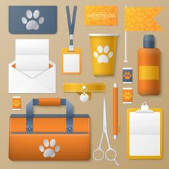 Pet Groomer Corporate Identity Template Set. Dogs Fashion Stationary Mockup. Personal Branding. Vector illustration