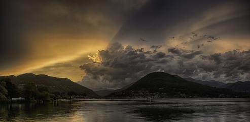Sunset over the Lugano Lake