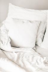 White Sheets and Pillows. Morning Mood