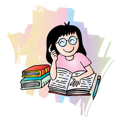 Illustration of a Girl Reading a Book. Cartoon style.