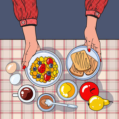 Healthy Breakfast Table Top View with Female Hands Holding Bowl, Fruits and Eggs. Diet Concept. Vector illustration