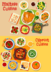 Cypriot and maltese cuisine icon set, food design