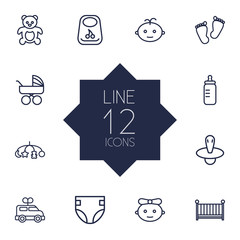 Set Of 12 Child Outline Icons Set.Collection Of Baby, Carriage, Crib And Other Elements.