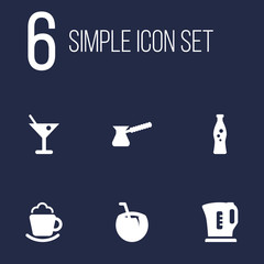 Set Of 6 Beverages Icons Set.Collection Of Electric Teapot, Turkish Coffee, Cocktail And Other Elements.