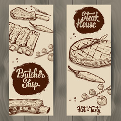 Set of Butcher shop and Steak house flyers templates on wooden background. Grilled meat, ribs, spices. Vector illustration
