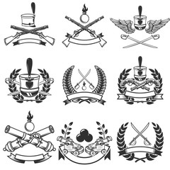 Set of  Ancient weapon emblems. Muskets, sabers, cannons. Design elements for logo, label, emblem, sign. Vector illustration