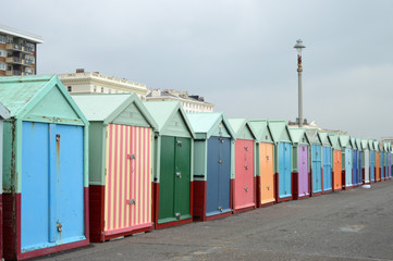 Rainbow Coloured Beach Sheds