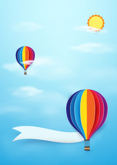 Colorful Hot air balloons flying with sun on blue sky background. Paper art and craft style