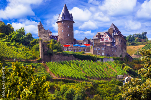 Romantic Rhine Valley river with gorgeous castles  Travel in