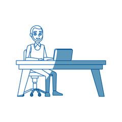 business man sitting computer working desk