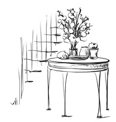 Hand Drawn dinner tea wares. Romantic breakfast