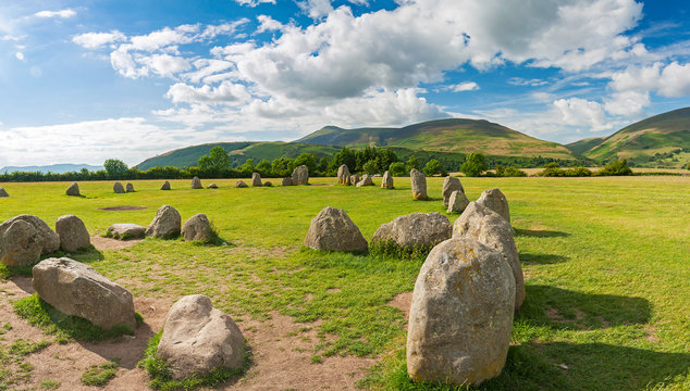 Ancient (late Neolithic) Castlerigg Stone Circle in Lake District, Cumbria, England.