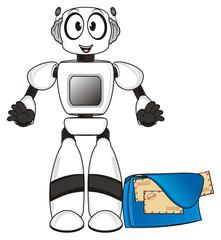 Robot, cartoon, technology, computer, cyborg,  electronics, machine, Toy, bot, postman, envelope