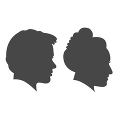 Man and woman face profile isolated vector set on the white background