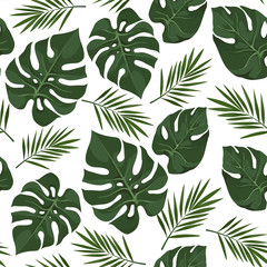 Vector seamless pattern with tropical leaves. Jungle style background. Trendy  tropical concept.