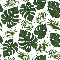 Vector seamless pattern with tropical leaves with splashes. Jungle style background. Trendy  tropical concept.