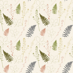 Floral vector seamless pattern with fern leaves, shepherd's purse plant, chestnut tree leaves and chicory flowers
