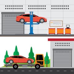 car service center building and workshop