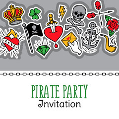 Old school tattoo and pirate life composition. Vector illustration for pirate party invitation and other messages.