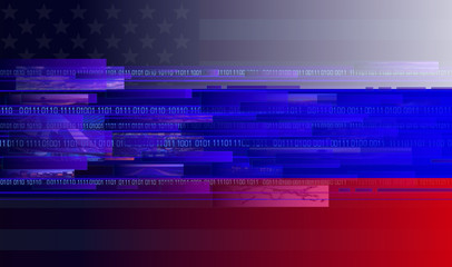 internet with american flag and russian flag