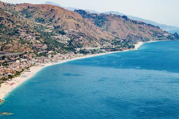 Letojanni resort town of coast of Ionian Sea