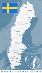 Sweden - map and flag illustration