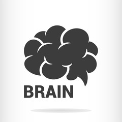 Filled brain icon isolated on background. Vector