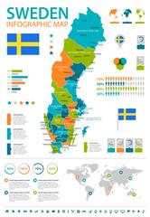 Sweden - infographic map and flag - illustration