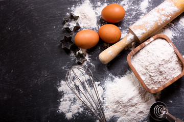 ingredients for baking and kitchen utensils