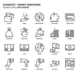 Money elements, square icon set.