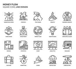 Money flow, square icon set.