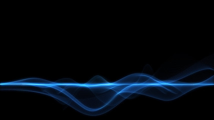 Abstract blue energy wave on dark background