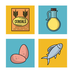 white background with frames of foods how cereals eggs fish and olive oil