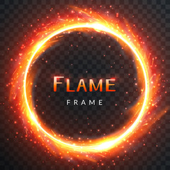 Realistic round light fire flame frame with inscribed text, vector template illustration on transparent background