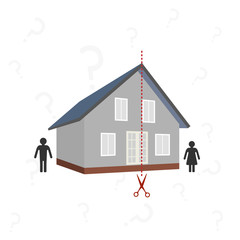 house and the dotted line for the cut - the concept of the division of property after divorce
