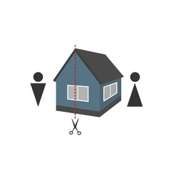 Silhouette of a man and a woman, a house and a dotted line for a cut - concept of separation of property after a divorce
