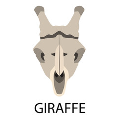 Skulls of animals flat icon set