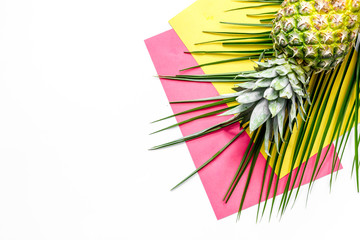 Pineapple and palm branch on white background top view copyspace