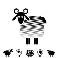 Sheep or Ram Icon, Logo, Template, Pictogram