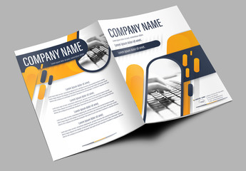 Brochure Cover Layout with Dark Blue and Orange Accents 3