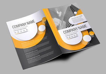 Brochure Cover Layout with Gray and Orange Accents 3
