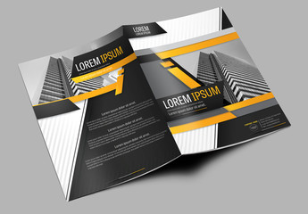Brochure Cover Layout with Gray and Orange Accents 4