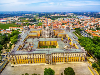 Portugal:  aerial top view of the Royal Convent and Palace of Mafra, baroque and neoclassical palace – monastery next to Lisbon
