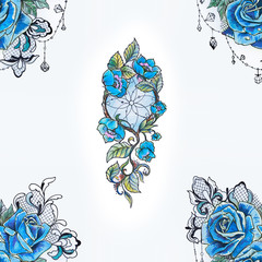 Seamless pattern dreamcatcher and blue roses on a white background.