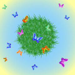 Colorful butterflies and grass vector pattern