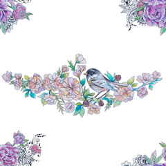 Seamless drawing of a bird on a branch with flowers on a white background.